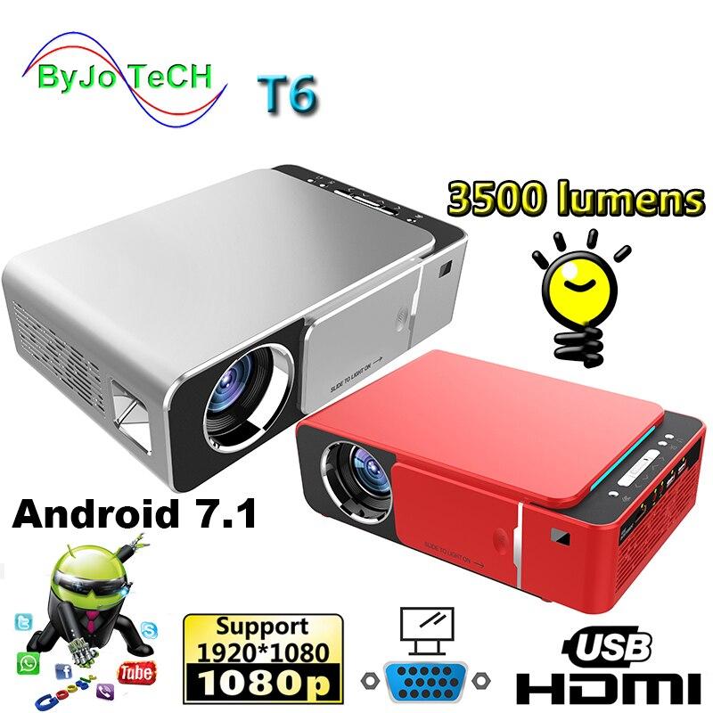 2019 novo t6 1080 p led projetor 3500 lumens 1280x720 portátil projetor android 7.1 usb hdmi vga av casa teatro wifi 2.4g5g
