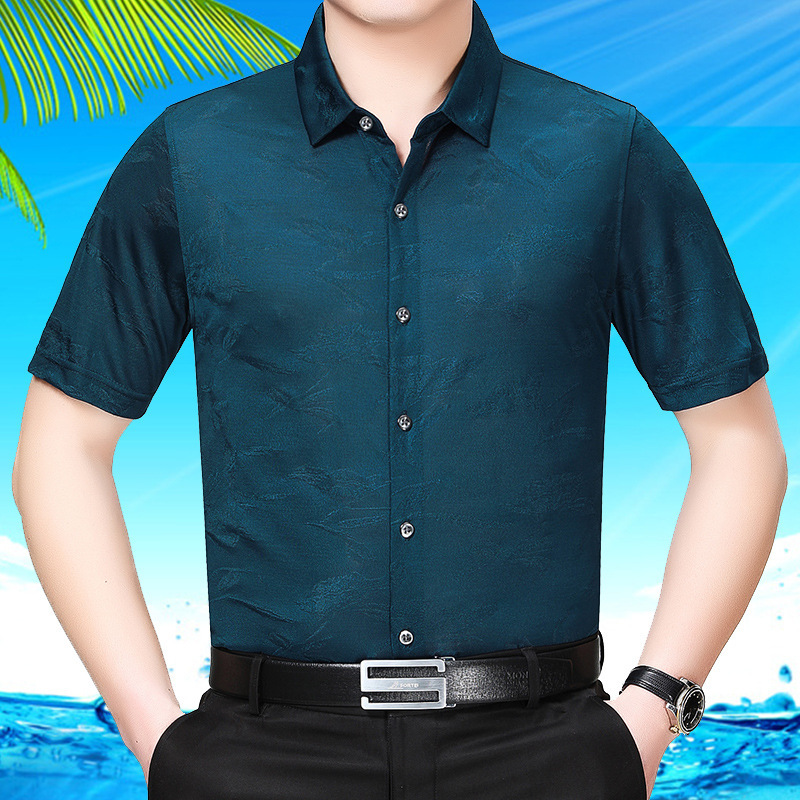 New Summer Men Shirt Short Sleeve Real Silk Shirt Mens Dress Shirts Gentlemen Plus Size Casual Camisa Masculina 95605 KJ1962