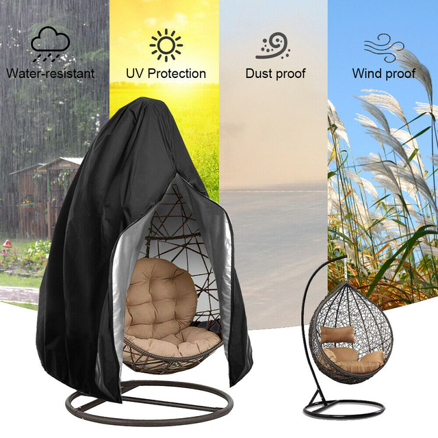 Waterproof Patio Chair Cover Egg Swing Chair Dust Cover Protector With Zipper Protective Case Outdoor Hanging Egg Chair Cover 3