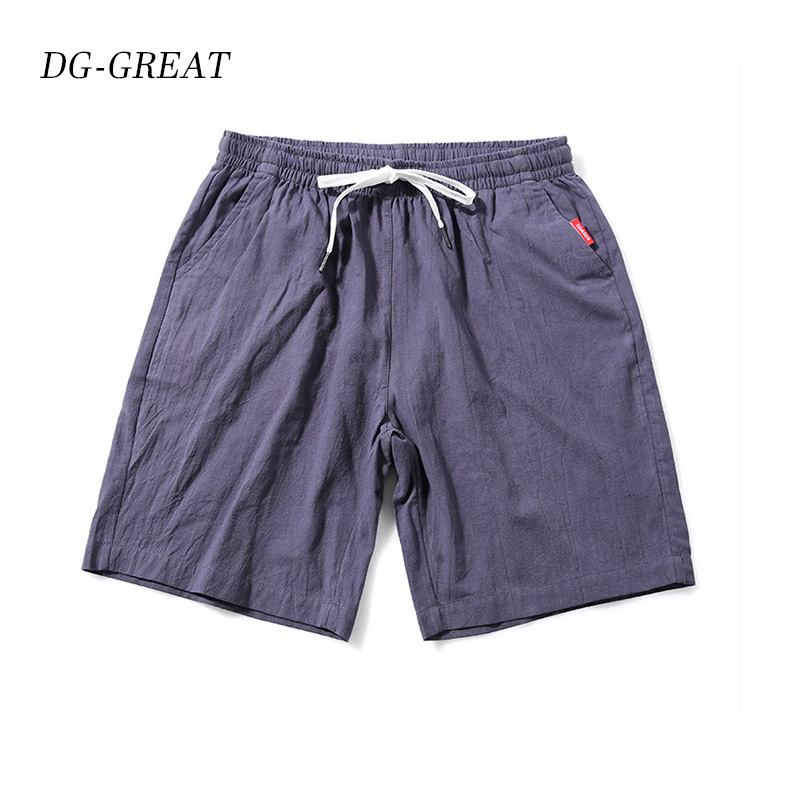 DG-GREAT Colorful Cotton Linen Summer Shorts Men 2019 Beach Shorts Mens Khaki Joggers Shorts Casual White Sweatshorts 5XL