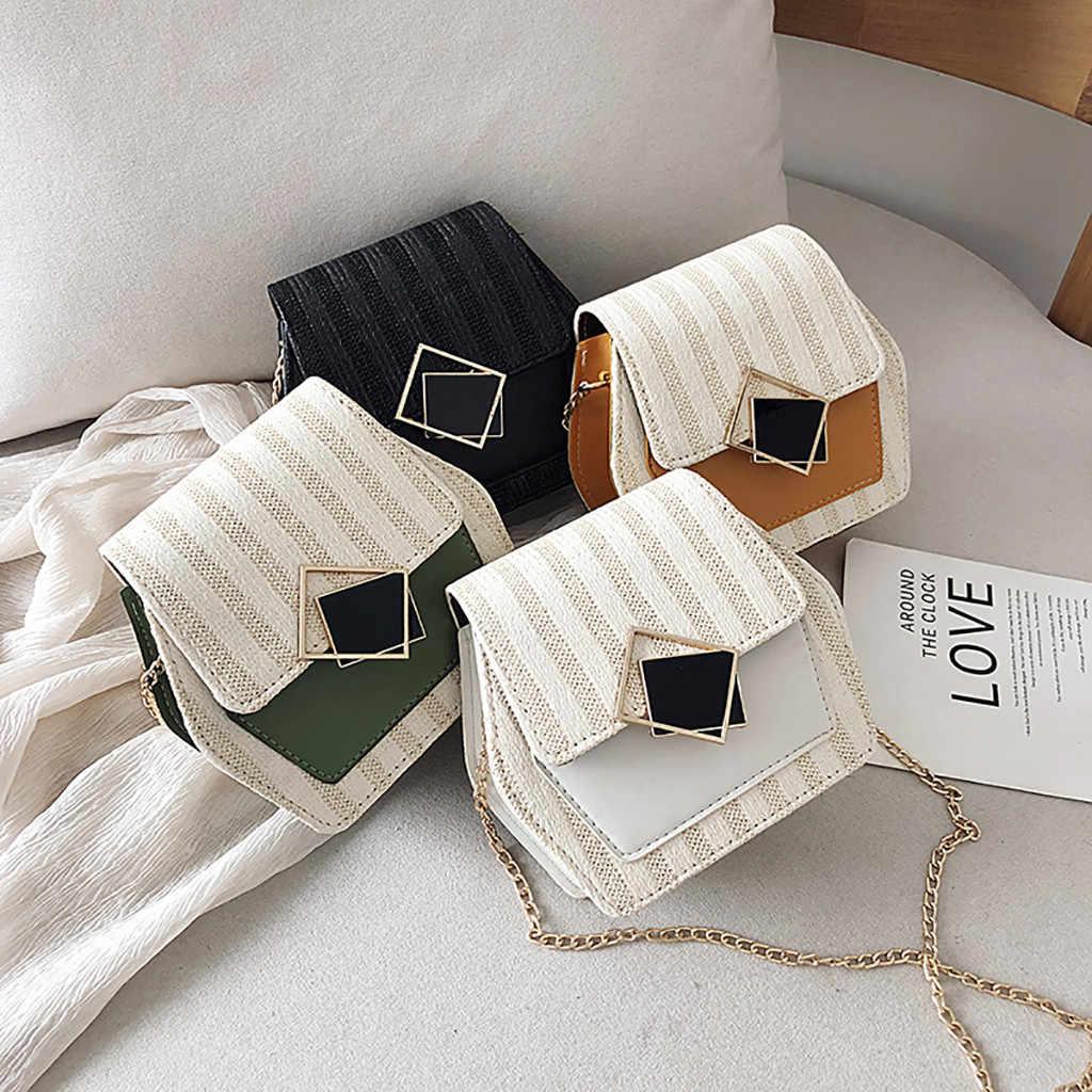 Contrast Kleur tassen voor vrouwen 2019 Mode Lock Ketting Geweven Schoudertas Cross Body Handtassen Geslingerd Kleine Vierkante Tas bolso mujer