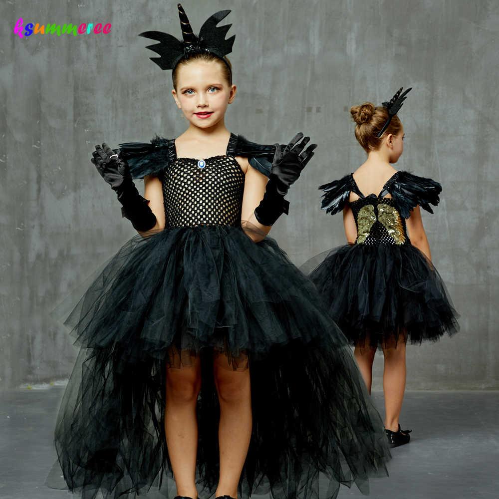 Asas De Anjo Caido Escuro Preto Gotico Halloween Vestido Tutu Glitter Meninas Do Dia Das Bruxas Festa A Noite Vestido De Baile Vestido De Traje Da Bruxa Do Mal Vestidos Aliexpress