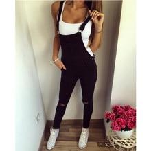 春の秋の女性ファッションカジュアルよだれかけ全身穴エプロン全体黒ジャンプスーツだぶだぶのジーンズズボン