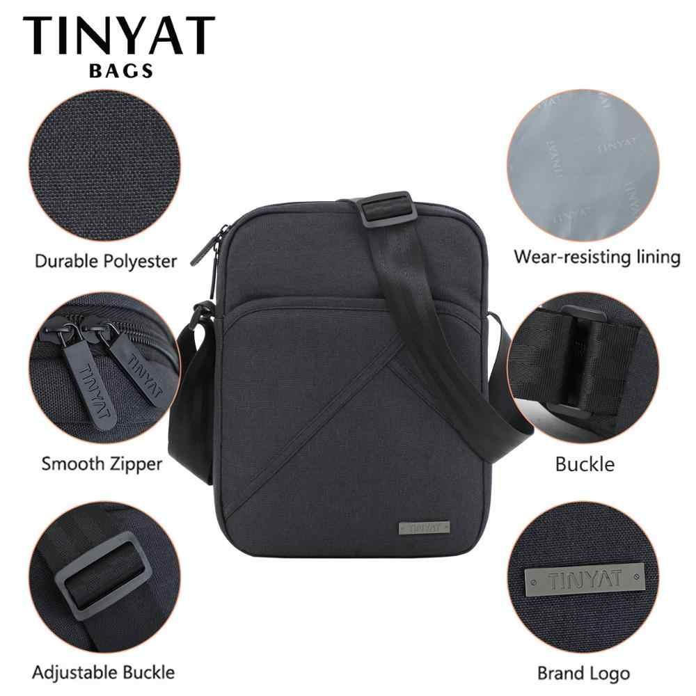 Tinyta luz bolsa de ombro masculino para 9.7 pad almofada 8 bolso à prova dwaterproof água casual crossbody saco lona preta mensageiro bolsa ombro
