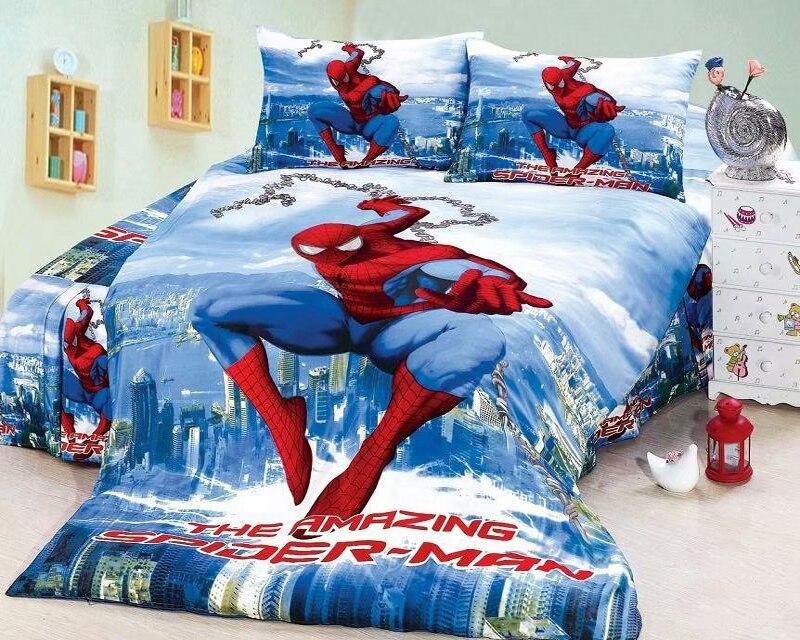Синий в мультипликационном стиле с человеком пауком Постельное белье «мстители»; «Бэтмен»; Комплект постельного белья Твин Fulll 2/3/4 шт. подод