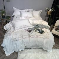 Chic Floral Purple Embroidery Duvet Cover King Queen Size White Egyptian Cotton Bedding set Comforter Cover Bed Sheet Pillowcase