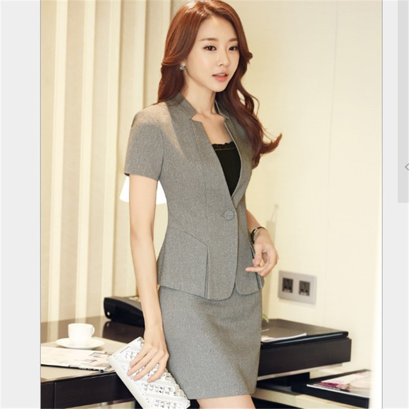 Fomal Suit Women Short Sleeve Blazer + Skirt 2 Piece Set Female 2020 Summer Office Uniform Blazer Set Plus Size S-5XL RM50096
