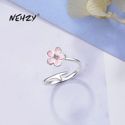 NEHZY 925 Sterling Silver New Woman Fashion Jewelry High Quality Crystal Zircon Simple Pink Flower Ring Size Adjustable Ring