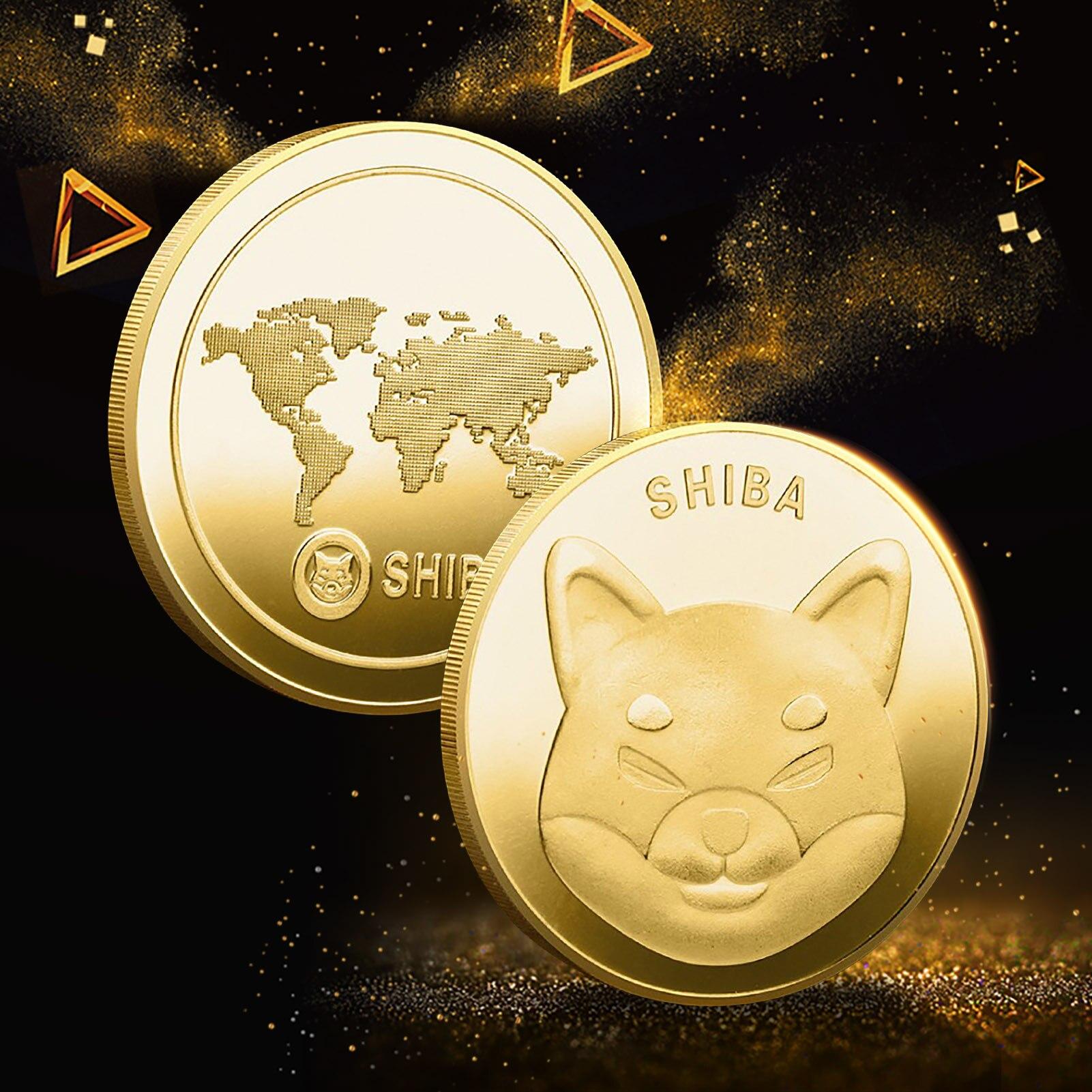 Иллюстратор Dogecoin, монета Шиба-ину (шиб), криптовалюминированный металлический, позолоченный, физический SHIB Doge Killer, сувенирные памятные моне...