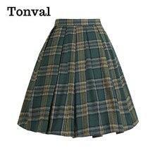 Vintage Skirts Rockabilly Tonval Green Plaid Retro Knee-Length Elegant Cotton Women Pleated