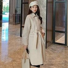 New Autumn Winter Korean Ofiice Lady Coat Women's Long Fashion Coats Elegant  Pockets Belt Jackets Black Blends Female Outerwear black side pockets long sleeves outerwear