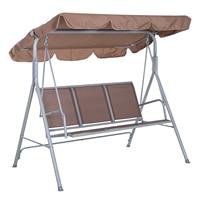 Cadeira de balanço outsunny com dossel 3 assentos max. 240 kg jardim poliéster 170x112x153 cm marrom| |   -