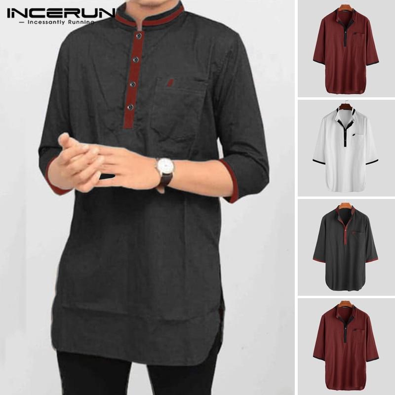 Men Shirt Indian Clothing Cotton Stand Collar 3/4 Sleeve Chic Vintage Patchwork Pockets Kurta Men Casual Shirts INCERUN 2020 3XL