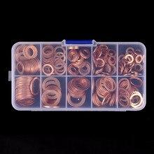 200 шт M5-M14 медные шайбы плоское кольцо отстойник заглушка сальник Ассорти набор омывателя Аппаратные аксессуары комплект с Чехол