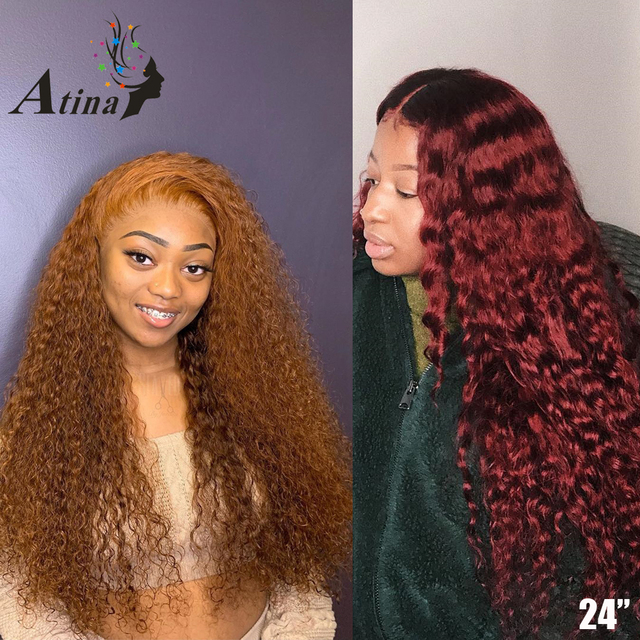 Peluca de jengibre 13x6 rojo oscuro 99j Borgoña peluca con malla Frontal color naranja pelucas de cabello humano rizado HD transparente encaje Frontal Atina Remy