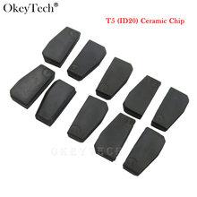 Okeytech 10 pçs/lote nova id T5-20 transponder chip de carbono em branco t5 clonable chip para chave do carro cemamic t5 chip