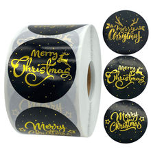 500 шт/рулон Золотой Счастливого Рождества наклейки этикетки