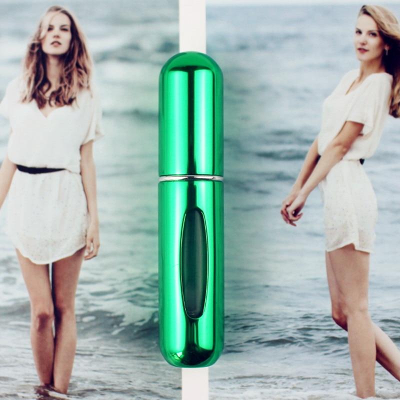 1 шт. высокое качество 5 мл флакон духов мини металлический распылитель многоразовый Алюминиевый распылитель для парфюма размер путешествия - Цвет: Shiny Green