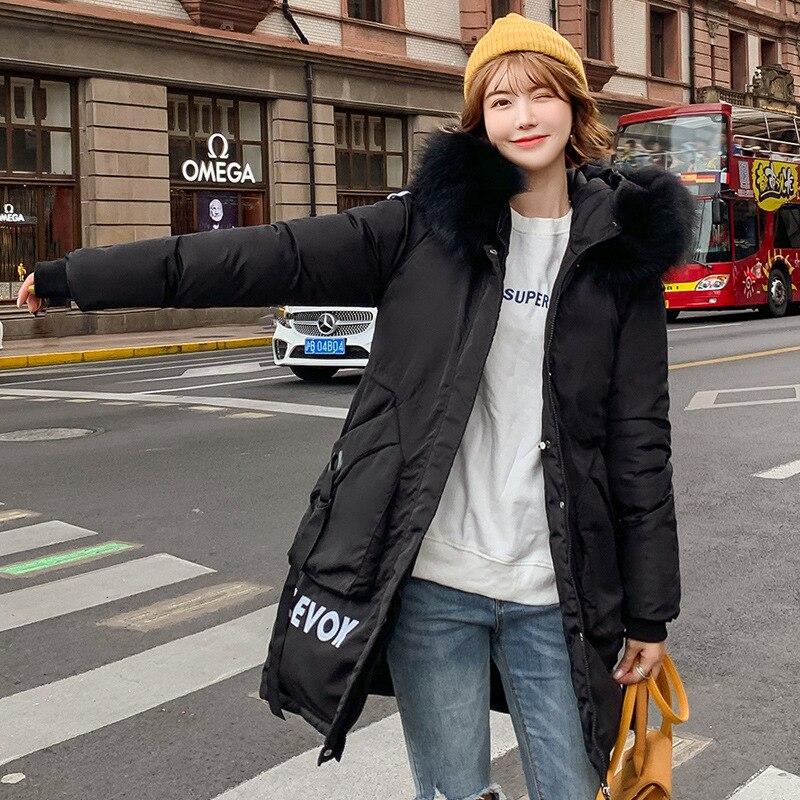 Thick women long jacket casual fashion warm cotton winter parka women big pocket fur collar hooded female coat outwear