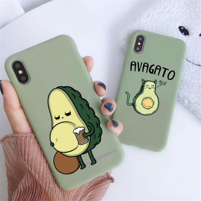 Green Matte Avocado Phone Case For iPhone XR X XS Max 5 5S SE 2020 7 8 6 6S Plus Silicon TPU Cover For iPhone 11 12 Pro Max Case