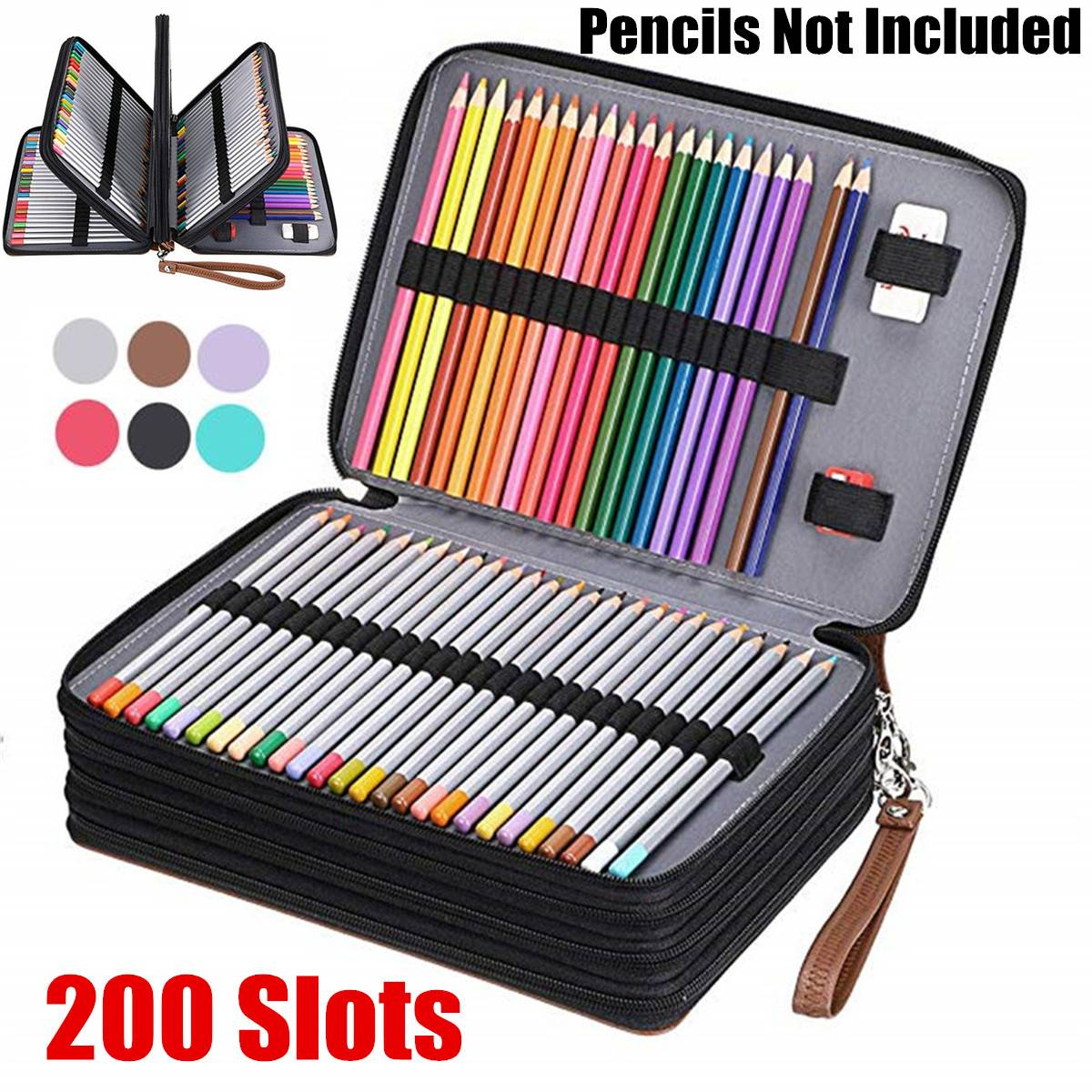 200 Slot Portable Colored Pencil Case Holder Waterproof Large Capacity PU Leather Pencil Bag Box For Student Gifts Art Supplies