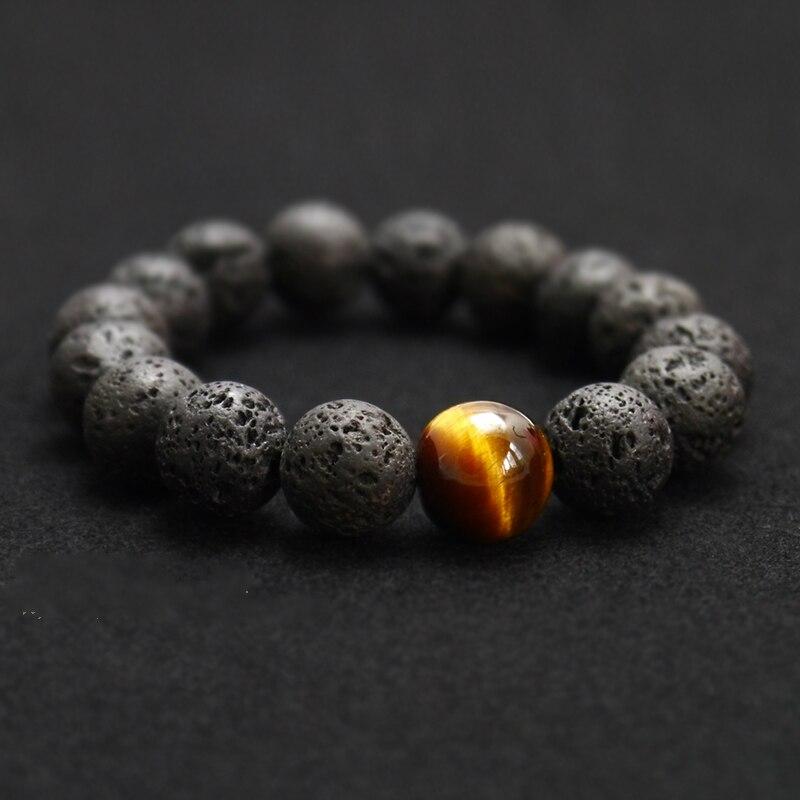 Venta al por mayor, piedra volcánica negra volcánica, Ojo de Tigre, pulsera de cuentas de 12mm para hombres, joyería de personalidad de moda