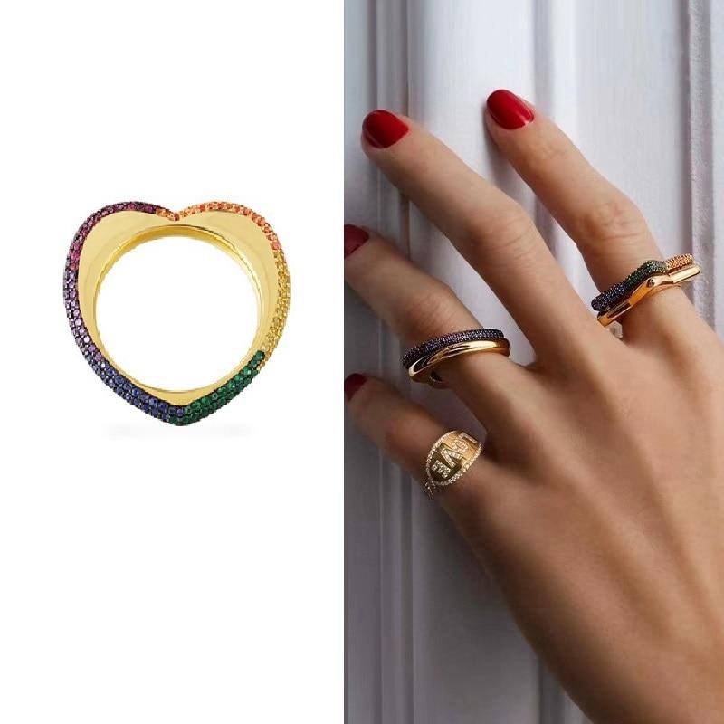 Arc-en-ciel Zircon 925 en argent Sterling amour coeur bague en or jaune Blingbling coeur anneau amusant femmes fête bijoux de mariage