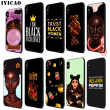 IYICAO Melanin Poppin Aba Black Girls Soft Black Silicone Case for iPhone 11 Pro Xr Xs Max X or 10 8 7 6 6S Plus 5 5S SE iyicao riverdale soft black silicone case for iphone 11 pro xr xs max x or 10 8 7 6 6s plus 5 5s se
