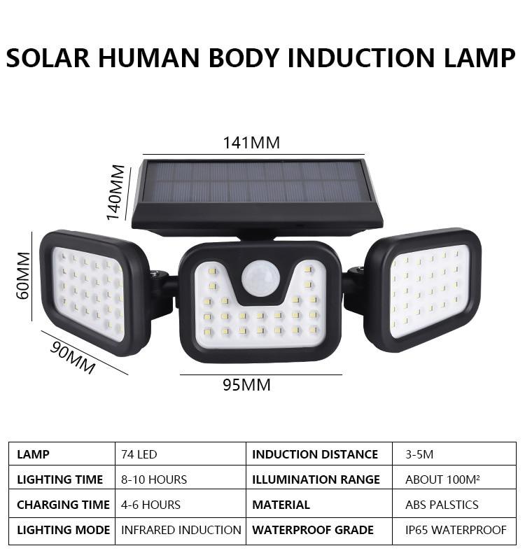 74 luzes led solares área externa de