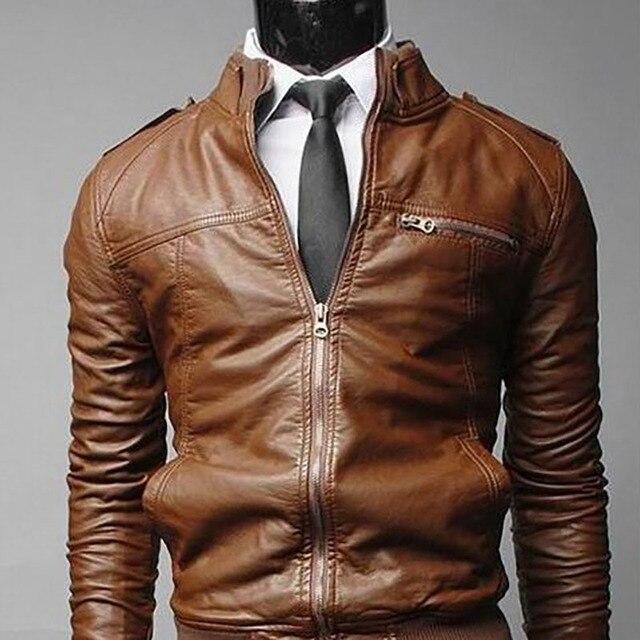 Men's Locomotive Coat  Jacket  Spring  Jacket Men 2020 Fashion  Leather Windbreaker Coats Motorcycle Leather 4