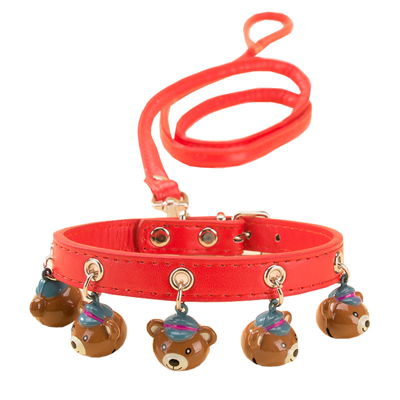 Cute Bell Neck Ring Lanyard Dog Neck Ring With Pet Teddy Dog Pendant Sub-Dog Lanyard Sub-P Pendant Traction Small Dogs