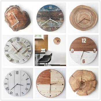 Reloj de pared minimalista, Retro nórdico, moderno salón, horas de madera, Vintage,...