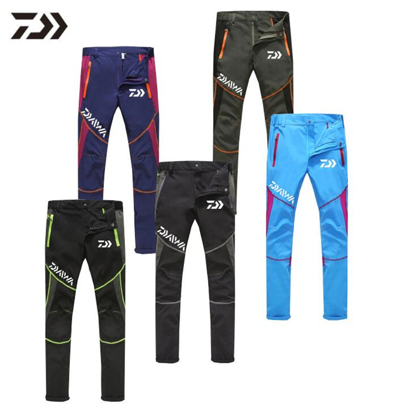 Daiwa  Summer Ultra-thin Fishing Pants Outdoor Breathable Sports Quick Dry Unisex Patchwork Ice Silk Camping Fishing Trousers