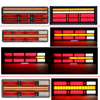 2PC 24V universal Truck LED Rear Tail Light trailer Warning Lights Flow Steering lorry ATV stop brake reversing traffic fog lamp image