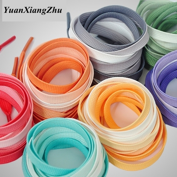 1Pair Fashion Colorful Shoelaces Candy Gradient Boot Shoelace Silk Canvas Sneaker Shoe laces Growing rainbow Strings BC-2