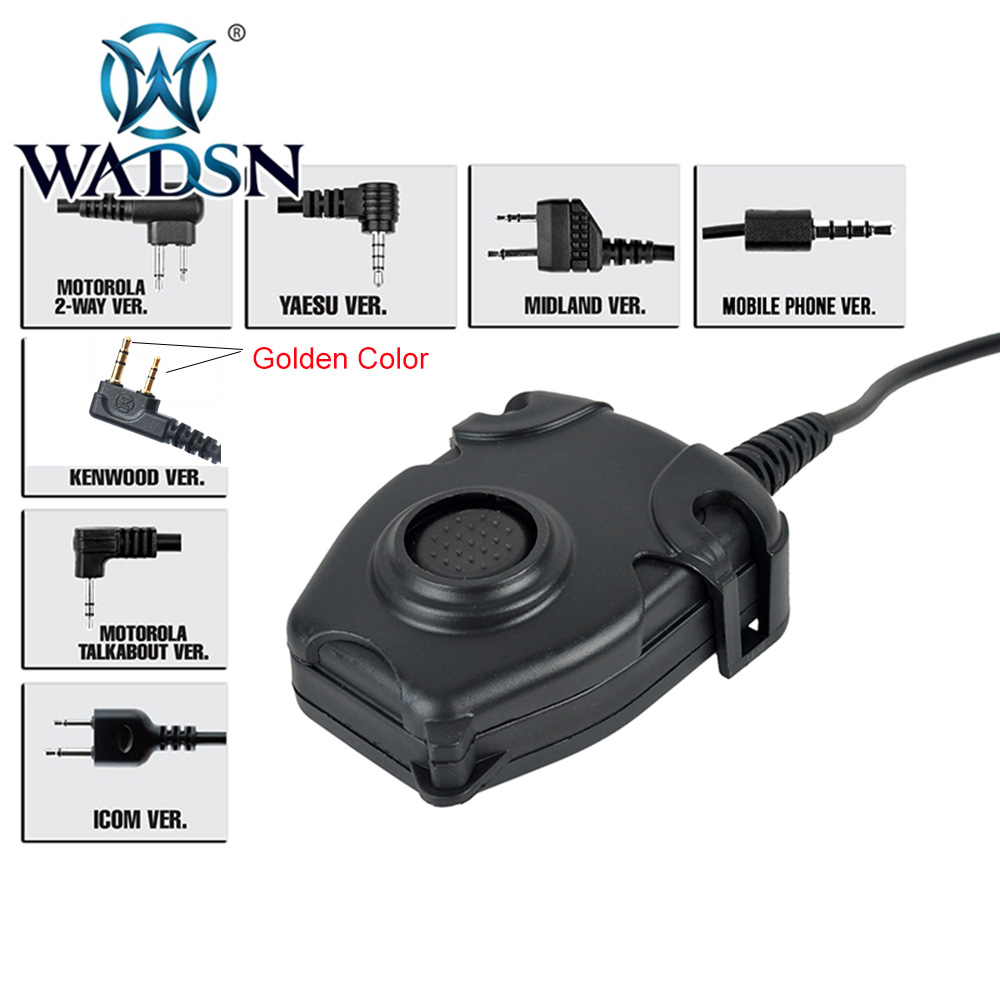 WADSN Peltor PTT Military Standard Version 360 Degrees Rotate Clamp Push-to-Talk Button Headset Adapter 1 - 2 Pin Radio WZ112