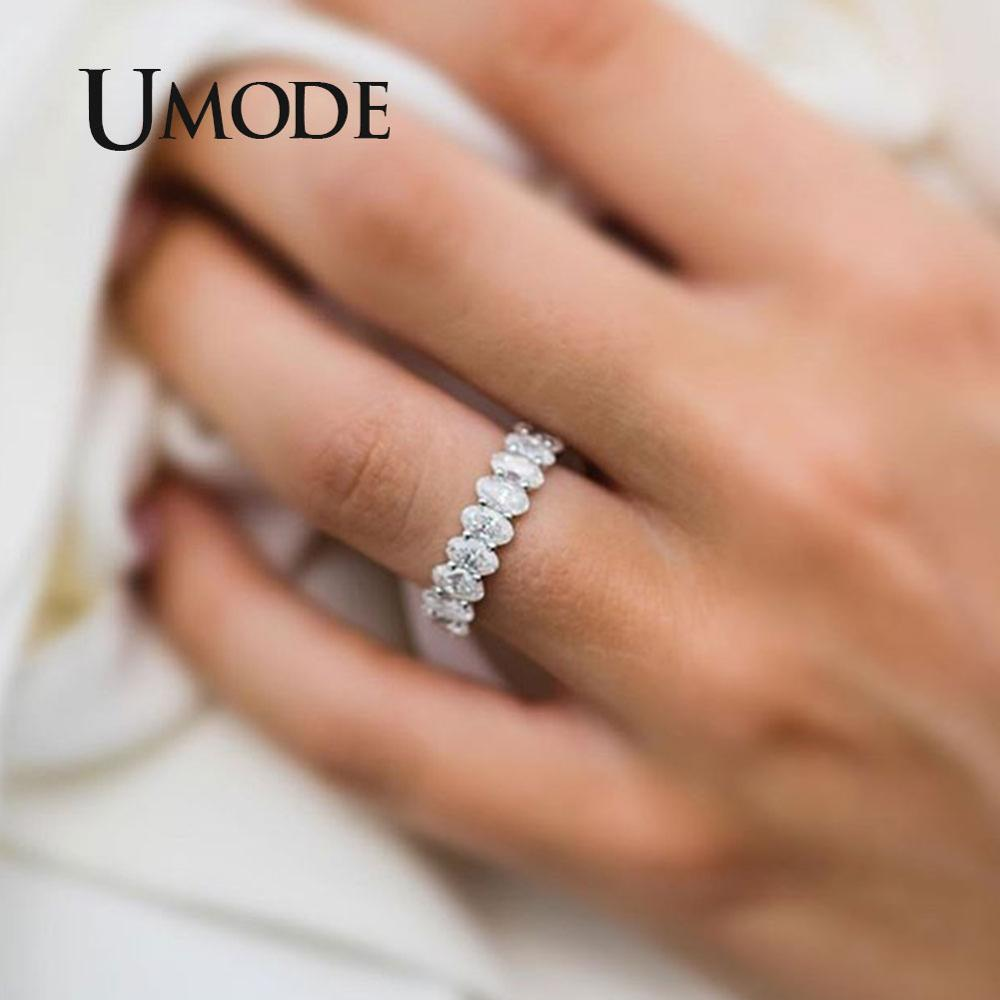 UMODE Silver Eternity Rings For Women Luxury Wedding Bands Cubic Zirconia Femme Girls Couples Gift Fashion Jewelry UR0580A