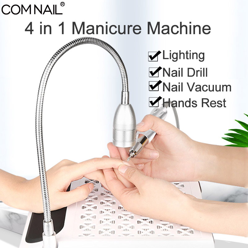 4 IN 1 Nail Dust Vacuum Cleaner & Nail Drill & Lighting Manicure Machine Extractor Fan For Manicure Nail Tool Dust Collector