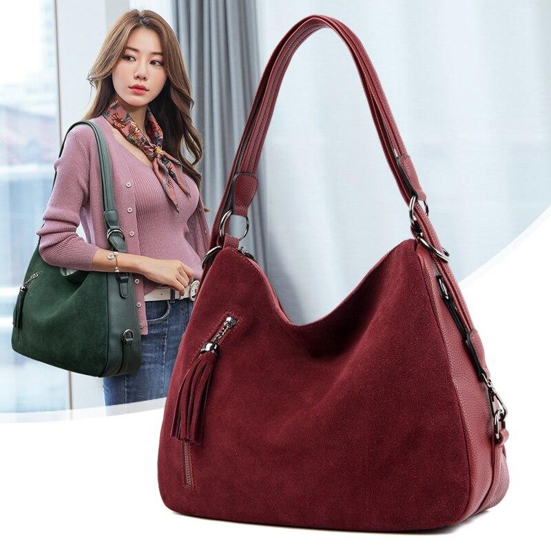 Винтажная женская сумка на плечо из искусственной замши с кисточками, Женская Повседневная сумка из нубука , сумка  хобо, сумка  мессенджер|Сумки с ручками|   | АлиЭкспресс