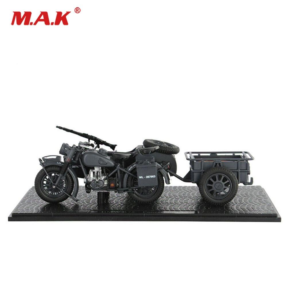 Diecast 1:24 Atlas Military WW II Three-wheeled Motorcycle Model Black Color