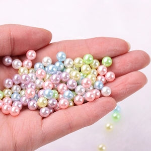 500Pcs/bag 1.5-8mm Mix Rainbow Color Round UV Resin Imitation Pearl Beads No Hole Loose Beads DIY Jewelry Necklace Making Craft