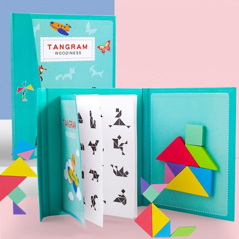 Magnético 3d quebra-cabeça jogo tangram montessori aprendizagem educacional desenho jogos de tabuleiro brinquedo presente para crianças cérebro tease