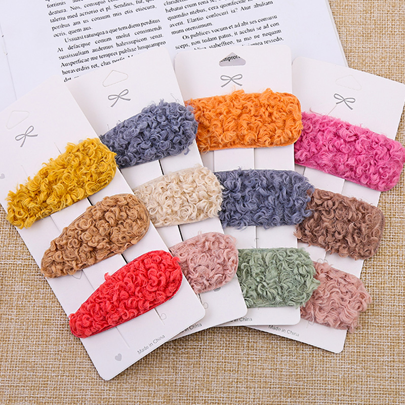 Colorful Lambswool Waterdrop Rectangle Shape Hairpins For Women Girls Sweet Headband Hair Clip Barrette Fashion Hair Accessories