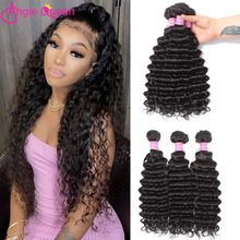 Human-Hair-Bundles Remy-Hair Deep-Wave Extention Weaves Natural-Color Brazilian Angie-Queen