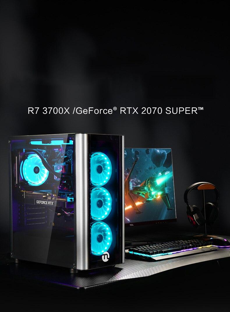 AMD R7 3700X/RTX 2070 süper masaüstü bilgisayar/son derece uyumlu e-spor oyun bilgisayar/su soğutmalı masaüstü/DIY PC GI27