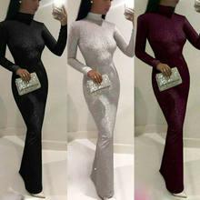 2019 kadınlar seksi parlak pullu Glitter elbiseler seksi Lady Bodycon uzun Maxi kulübü elbise uzun kollu yüksek boyun ince elbiseler vestidos