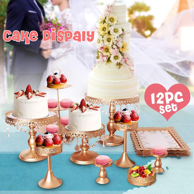 Outils de cuisine or blanc 12 pièces   Ensemble de stands à gâteaux ronds en métal et cristal, plateau de présentation de cupcakes, décoration de mariage