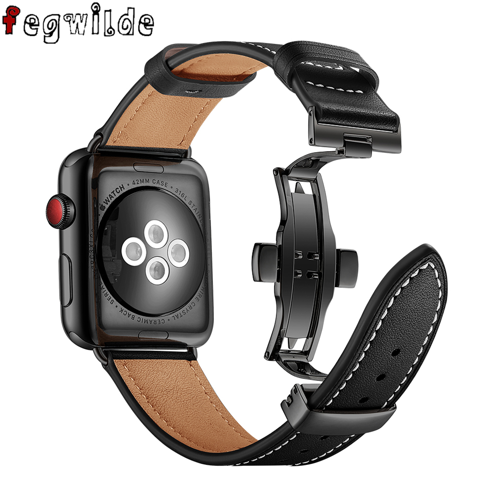 strap For Apple watch band 44 mm 42mm 40mm 38mm iWatch series 5 4 3 2 1 Leather metal Butterfly buckle bracelet belt watchband   Watchbands