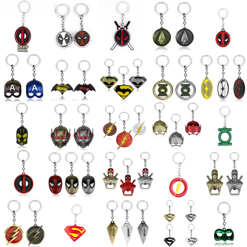 DC Superhero Series Keychain Pendant Superman Green Arrow Batman Green Lantern Deadpool Alloy Keyring For Women Men Fans Gifts