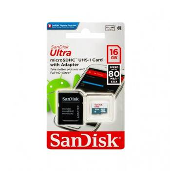 Memory card 16GB-SanDisk Ultra microSD class 10 UHS-I sdsquns-016g-gn3ma with SD adapter (original!)